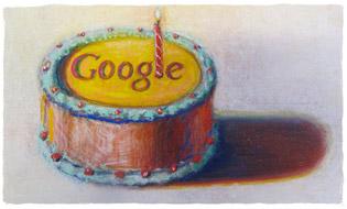 Grattis på 12e födelsedagen Google, av Wayne Thiebaud. Bilden används med tillstånd från VAGA NY.