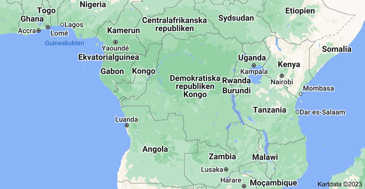 Karta över Demokratiska republiken Kongo